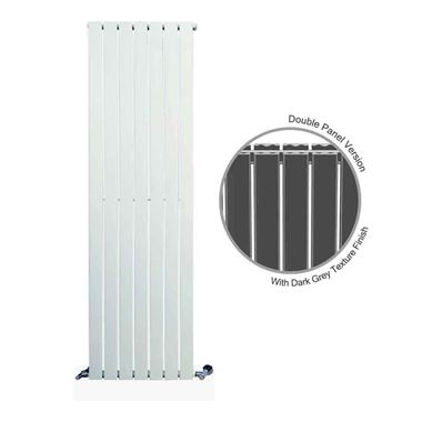 DQ Heating Tornado Double Panel Mild Steel Vertical Designer Radiator - Dark Grey
